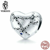 Women S925 Sterling Silver Heart with Lock Charms Fit Bracelet & Necklace VOROCO
