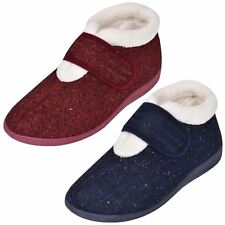 Ladies Ankle Slipper Slip on Bootee Touch & Close Warm Winter Comfort Cosy Boots