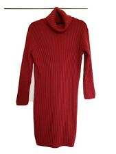 M&S Red ribbed Chunky Knitted Polo Neck Jumper Dress UK M 12/14  BNWT RRP £40