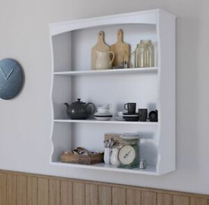 Wall Mounted Shelves Painted White 3 Book Shelves Ideal for Kids Bedroom Kitchen