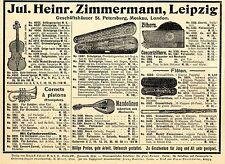 J.H.Zimmermann Leipzig Geigen Cornets á pistons Mandolinen Musik-Instrumente1901