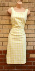 MARKS AND SPENCER YELLOW WHITE GINGHAM CHECK BODYCON COTTON TUBE DRESS 12 M