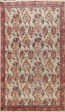 Vintage Ivory Floral Bird Design Sarouk Area Rug Hand-Knotted Wool Carpet 7'x10'