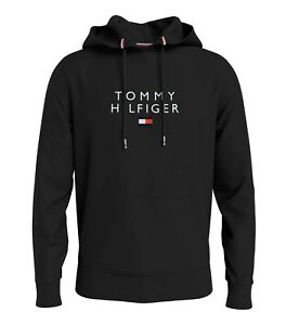 BNWT Tommy Hilfiger Men's Stacked Flag Pullover Hoodie Black Jumper Top M read !