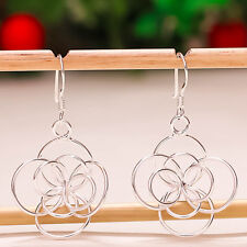 """92.5 STERLING SILVER PLAIN FLOWER DESIGN HANDCRAFTED EARRING 1.50"""" PD-389"""