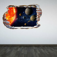 Solar System Smashed Wall Sticker 3D Decal Space Galaxy Boys Bedroom Graphic