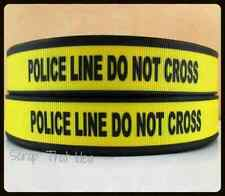 "POLICE LINE Ribbon. 7/8"" Grosgrain. Scrapbooking. Crime Scene Tape. DO NOT CROSS"