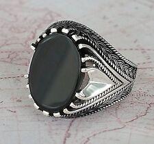 Oval Black Agate Gemstone Solid Turkish 925 Sterling Silver Men Ring
