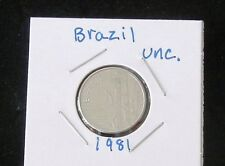 TWO NICE UNCIRCULATED 1981 & 1982 Brazil Stainless Steel One Cruzeiro Coins
