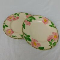 """Set of 2 Hand Painted Franciscan USA MADE Desert Rose Pottery 8"""" Salad Plate"""