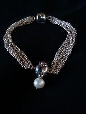 806a85cc6 PANDORA ALE 925 Sterling Silver Multi Strand Bracelet w Pearl Clip Bead  Charm