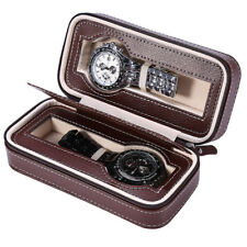 Holder Wrist Watches Display Case Collection 2 Slots Leather Watch Box Storage