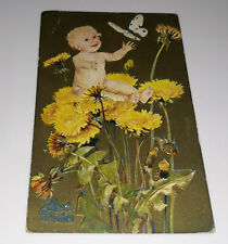 Baby Dandelion Butterfly Postcard Best Wishes Vintage Embossed BY