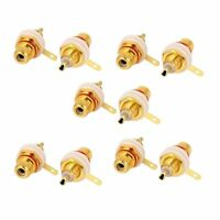 Audio Chassis Mount RCA Female Bulkhead Solder Connector Adapter 10pcs M2X2