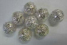 8 Pieces 14mm Metal Filigree Silver Tone Ball Beads Beading & Jewellery JF493