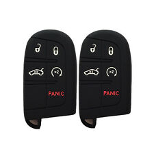 A Pair Black Key Case Cover Silicone Rubber Key Fob Case Holder for JEEP DODGE