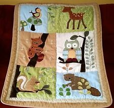 Lambs & Ivy ENCHANTED FOREST Crib Comforter Quilt Owl Fox Deer Beaver Squirrel