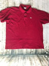 Men's La'Coste Red Cotton Polo Alligator Shirt Size 7 Medium Made In France *6