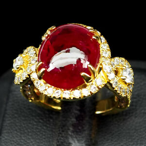 RUBY BLOOD RED OVAL CAB 13 CT. SAPP 925 STERLING SILVER GOLD RING SZ 7 JEWELRY