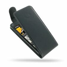 Pdair Deluxe Leather Flip Top Case Carry Cover for Amazon Fire - Black