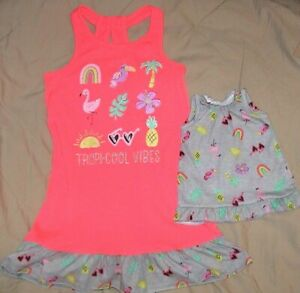 TROPI-COOL VIBES NIGHTGOWN WITH MATCHING DOLL GOWN-GIRLS SIZE 7/8-NWT