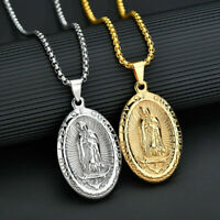 Gold Plated Catholic Virgin Mary Pendant Necklace Jewelry Classic Gifts Unisex