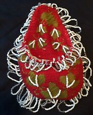 Victorian Bead Work Wall Pocket Watch Holder Vintage Textile Embroidery