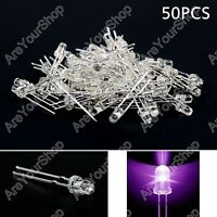 50Pcs 3mm Purple UV Color Water Clear LED Light Round Top Emitting Diode F3 BS5.