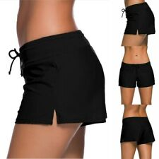 Womens swimming trunks black beach shorts adjustable wide waist bikini plus size