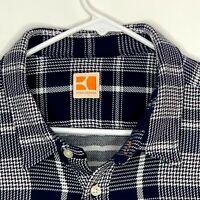 Boss Orange Mens Designer Shirt LS Blue White Plaid XL