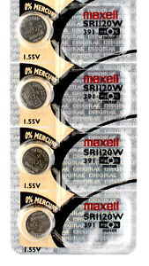 4 x Maxell 391 Watch Batteries, SR1120W Battery   Shipped from Canada
