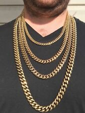 Mens Miami Cuban Link Chain Necklace Bracelet Gold Plated Stainless Steel 8-18mm