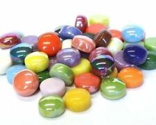 """50 """"Optic Drops Calypso Color Mix Recycled Glass Gems Round Shaped Mosaic Tiles"""