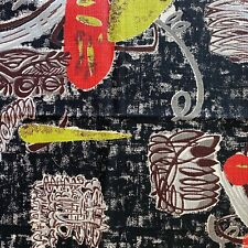 Rare Black Vintage Barkcloth Fabric - Mid Century Atomic Red & Chartreuse