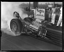 N449 1960'S NEGATIVE...DRAG RACING NHRA,BURNOUT,DRIVER INSIDE GREAT HOT ROD,SEE