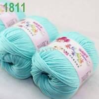 SALE 3 balls x50gr Cashmere Silk velvet Hand Knitting baby Yarn Light Cyan 1811