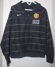 Men's NWOT Nike Manchester United AIG Soccer Zipper Jacket Coat Black Striped M