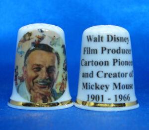 Birchcroft China Thimble -- Walt Disney Film Producer & Creator of Mickey Mouse