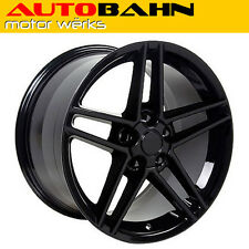 18x9.5 Gloss Black C6 Corvette Z06 Style Wheel Rim Fits Camaro Z/28 INV7467