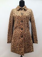 Womens H & M Faux Fur Leopard Retro Sixties Fitted Coat Jacket Fits Size 8/10