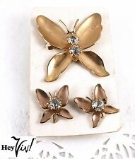 Butterfly Pin & Screw Back Earring Matching Set - 50s Vintage Jewelry - Hey Viv