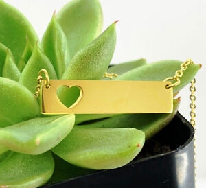 18K Yellow Gold Name Necklace, Personalized Bar Necklace, Custom Engraved Bar