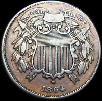 1864 Small Motto Two Cent Piece 2cp  ---- RARE Type Coin ---- #K604