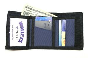Nylon Trifold Credit Card Wallet with ID window - Navy Blue