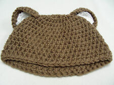 BROWN WITH EARS - TODDLER ONE SIZE - STOCKING CAP BEANIE HAT!