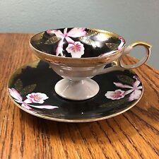 Vintage Black Teacup and Saucer Oriental Orchids and Gold Trim Japan
