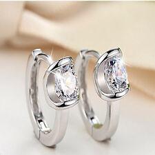 New Fashion 1 Pair Women Silver Plated Jewelry Crystal Ear Stud Earrings
