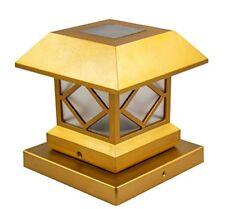 Outdoor Solar Lights Post Cap Lights Gold Finish Vinyl Bright 2 Post Cap Lamps