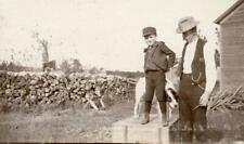 Kg12 Vtg Photo Father & Son, English Setter Bird Dog Hunting c Early 1900's