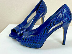Leather Crocodile Embossed Blue Bell Pumps 7 M White House Black Market $146